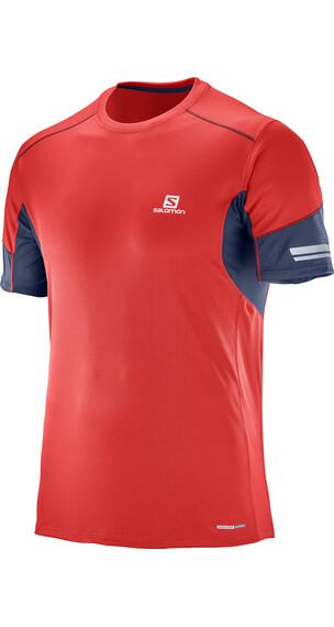 Salomon Agile Hardloopshirt korte mouwen Heren rood/blauw